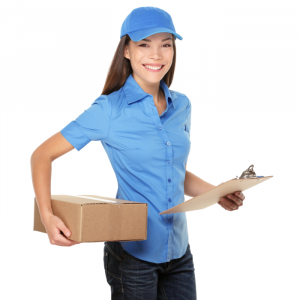 a girl in a delivery uniform smiling